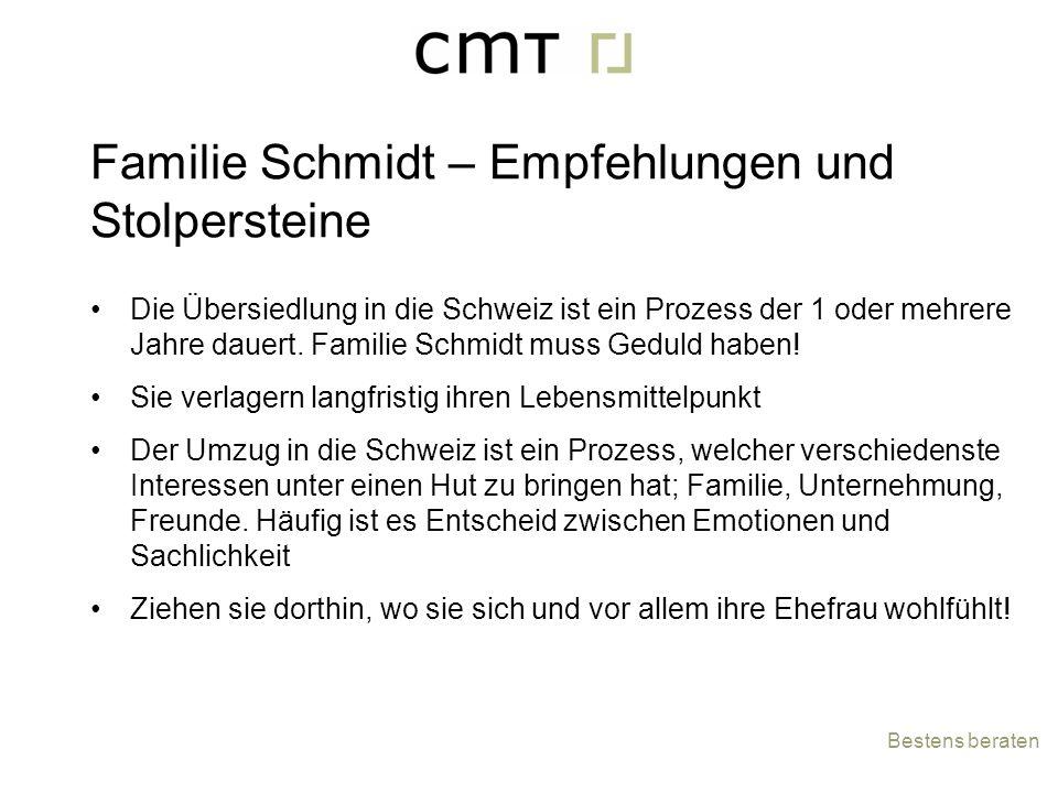 Die Übersiedlung in die Schweiz ist ein Prozess der 1 oder mehrere Jahre dauert. Familie Schmidt muss Geduld haben! Sie verlagern langfristig ihren Le