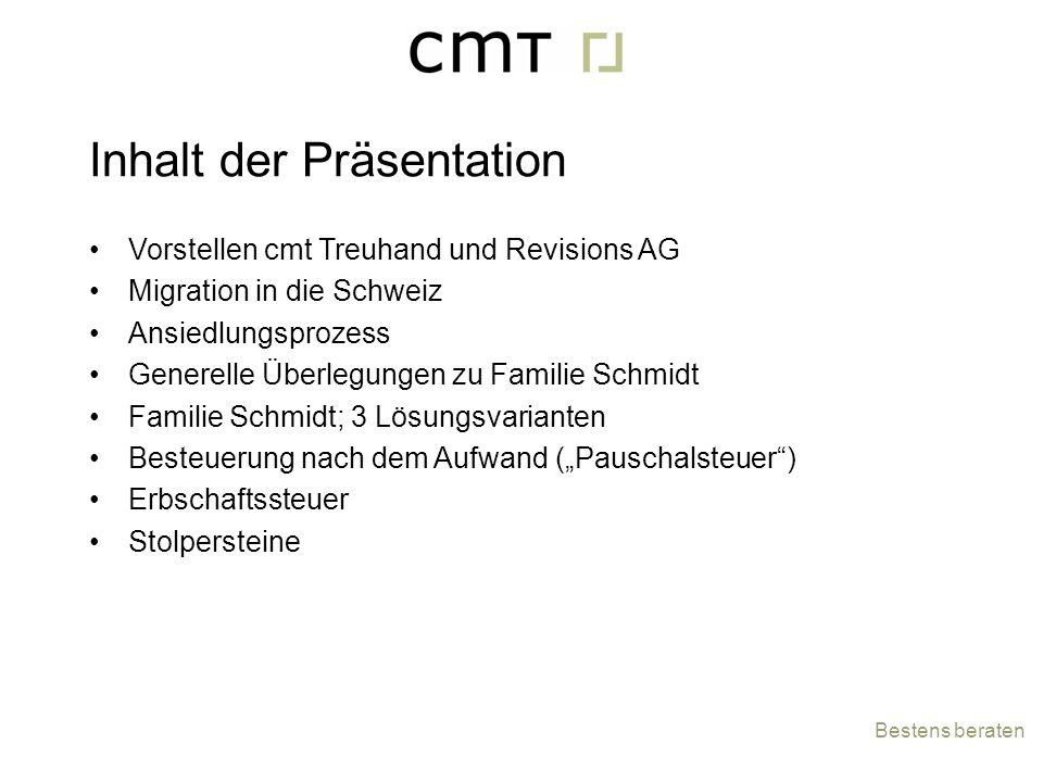 Inhalt der Präsentation Vorstellen cmt Treuhand und Revisions AG Migration in die Schweiz Ansiedlungsprozess Generelle Überlegungen zu Familie Schmidt