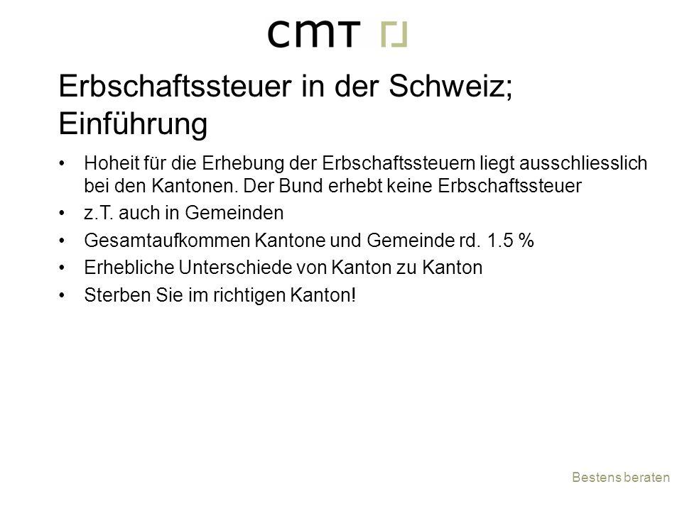 Erbschaftssteuer in der Schweiz; Einführung Hoheit für die Erhebung der Erbschaftssteuern liegt ausschliesslich bei den Kantonen. Der Bund erhebt kein