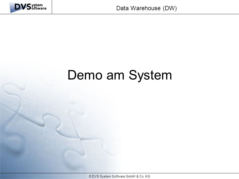 © DVS System Software GmbH & Co. KG Data Warehouse (DW) Demo am System