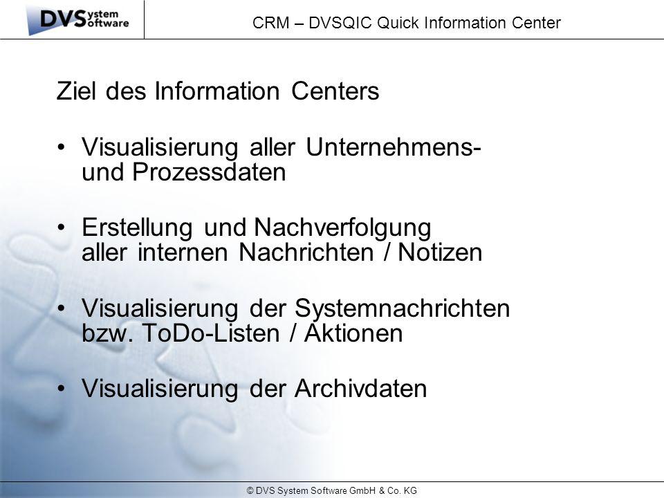 © DVS System Software GmbH & Co. KG CRM – DVSQIC Quick Information Center Ziel des Information Centers Visualisierung aller Unternehmens- und Prozessd