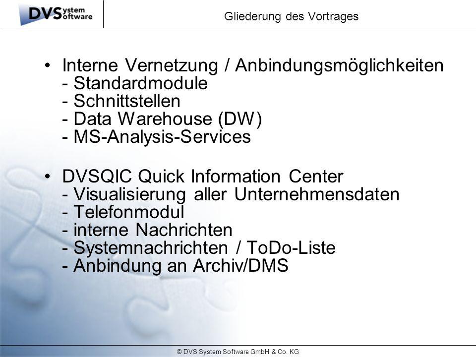 © DVS System Software GmbH & Co. KG Gliederung des Vortrages Interne Vernetzung / Anbindungsmöglichkeiten - Standardmodule - Schnittstellen - Data War