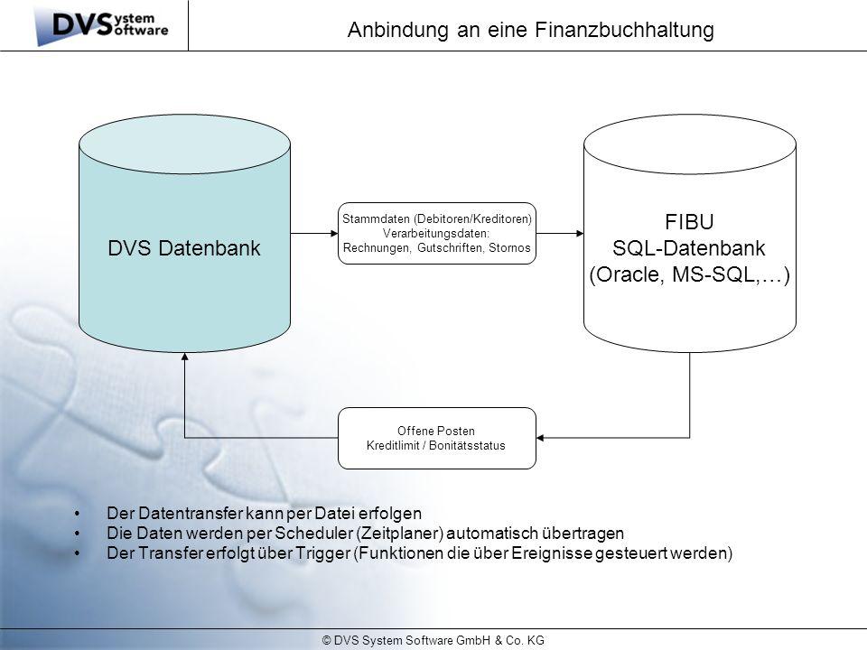© DVS System Software GmbH & Co. KG Anbindung an eine Finanzbuchhaltung DVS Datenbank FIBU SQL-Datenbank (Oracle, MS-SQL,…) Stammdaten (Debitoren/Kred