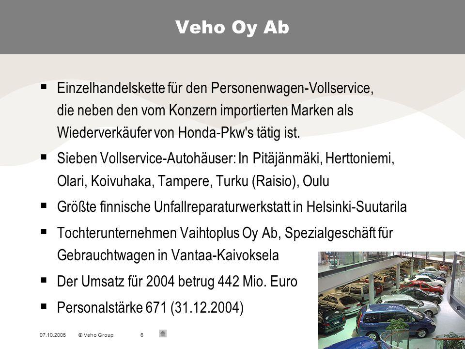 07.10.2005© Veho Group7 Auto-Bon Oy Citroën Citroën, Import und Marketing Personenwagen und Kleintransporter Wiederverkauf: Veho-Firmen und selbstständige Händler an 36 Orten Volumen 2004 (Registrierungen) Personenwagen 6 667 St.
