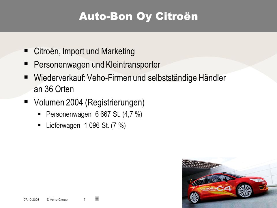 07.10.2005© Veho Group7 Auto-Bon Oy Citroën Citroën, Import und Marketing Personenwagen und Kleintransporter Wiederverkauf: Veho-Firmen und selbststän