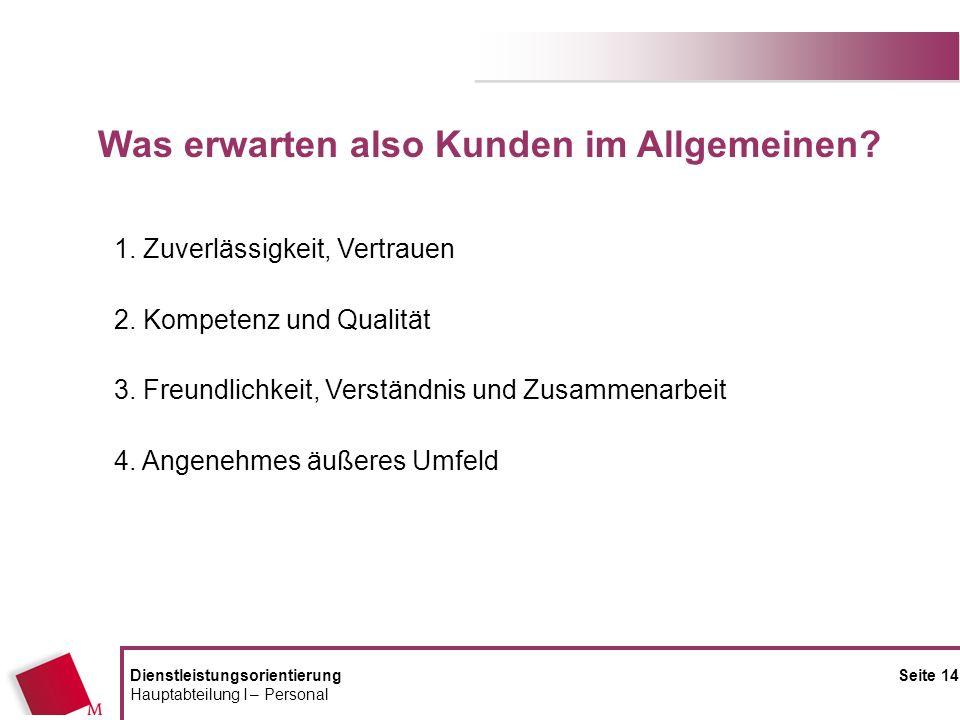 DienstleistungsorientierungSeite 14 Hauptabteilung I – Personal 1. Zuverlässigkeit, Vertrauen 2. Kompetenz und Qualität 3. Freundlichkeit, Verständnis