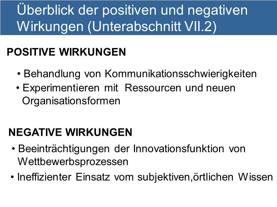 10 Überblick der positiven und negativen Wirkungen (Unterabschnitt VII.2) Behandlung von Kommunikationsschwierigkeiten Experimentieren mit Ressourcen