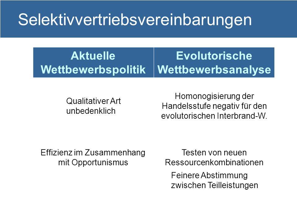 11 Selektivvertriebsvereinbarungen Aktuelle Wettbewerbspolitik Evolutorische Wettbewerbsanalyse Qualitativer Art unbedenklich Homonogisierung der Hand