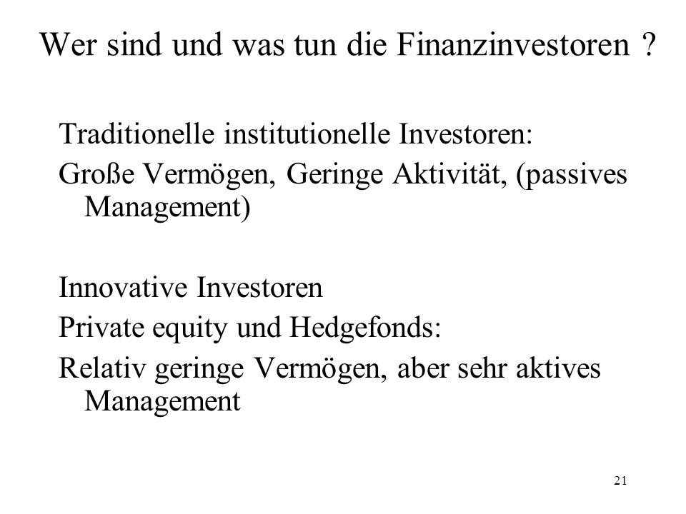 21 Wer sind und was tun die Finanzinvestoren ? Traditionelle institutionelle Investoren: Große Vermögen, Geringe Aktivität, (passives Management) Inno