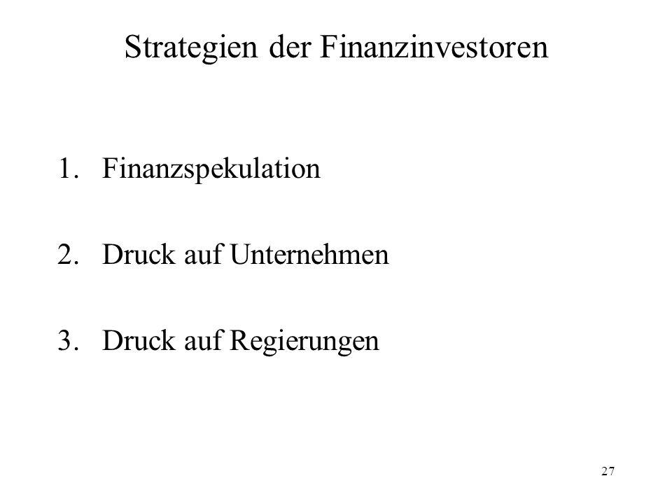 27 Strategien der Finanzinvestoren 1.Finanzspekulation 2.Druck auf Unternehmen 3.Druck auf Regierungen