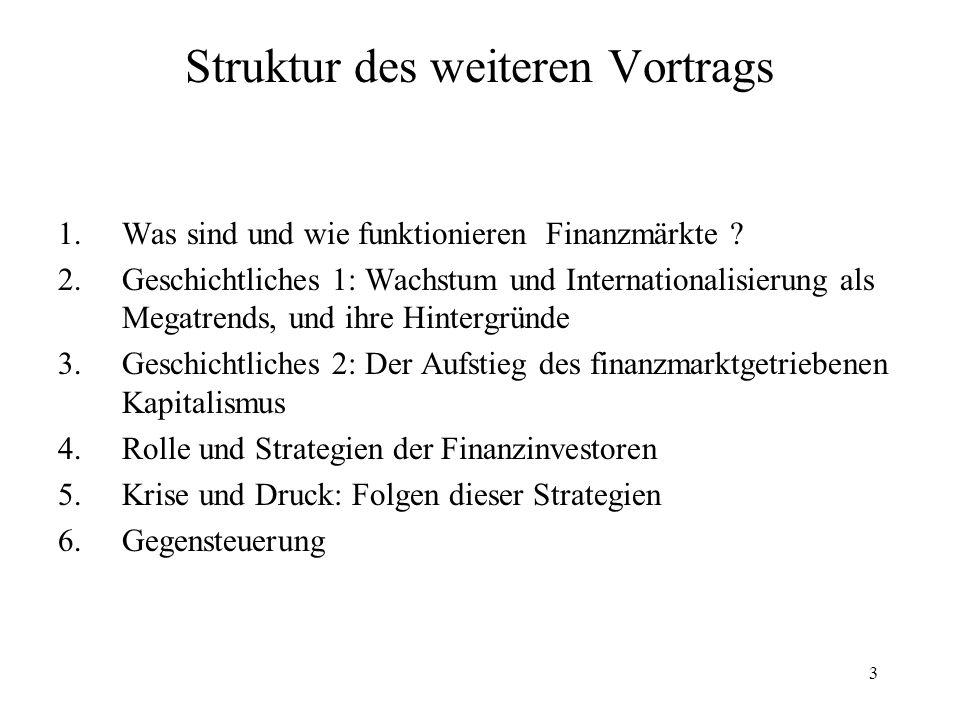 3 Struktur des weiteren Vortrags 1.Was sind und wie funktionieren Finanzmärkte ? 2.Geschichtliches 1: Wachstum und Internationalisierung als Megatrend
