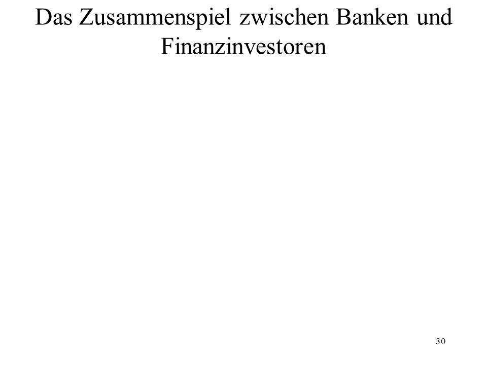 30 Das Zusammenspiel zwischen Banken und Finanzinvestoren