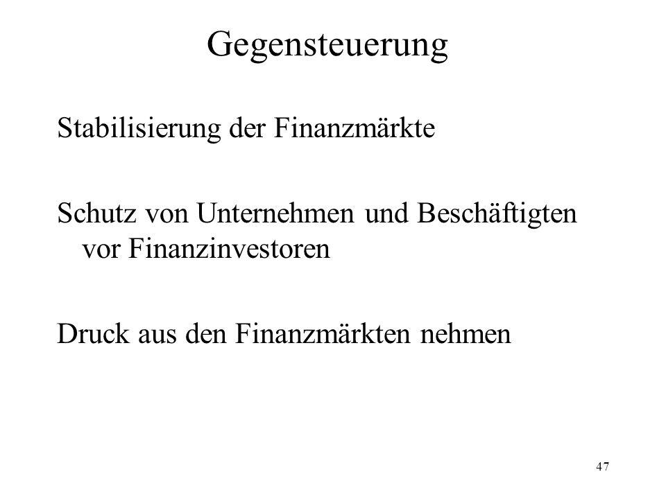 47 Gegensteuerung Stabilisierung der Finanzmärkte Schutz von Unternehmen und Beschäftigten vor Finanzinvestoren Druck aus den Finanzmärkten nehmen