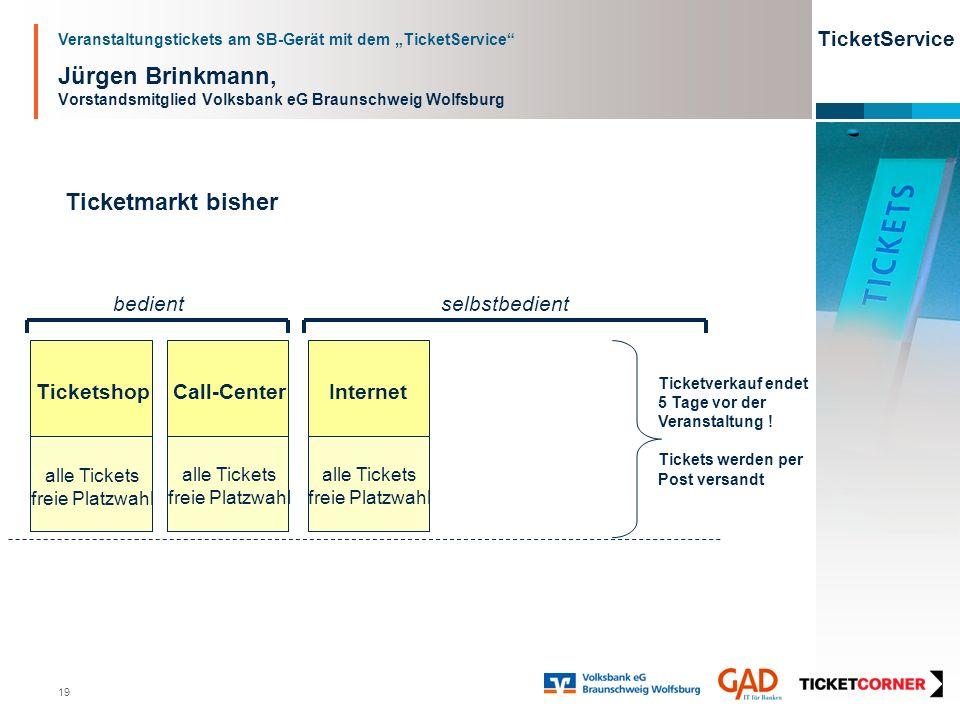 Veranstaltungstickets am SB-Gerät mit dem TicketService TicketService 19 Jürgen Brinkmann, Vorstandsmitglied Volksbank eG Braunschweig Wolfsburg Ticke