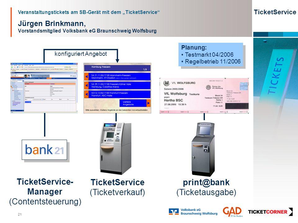 Veranstaltungstickets am SB-Gerät mit dem TicketService TicketService 21 Jürgen Brinkmann, Vorstandsmitglied Volksbank eG Braunschweig Wolfsburg Ticke