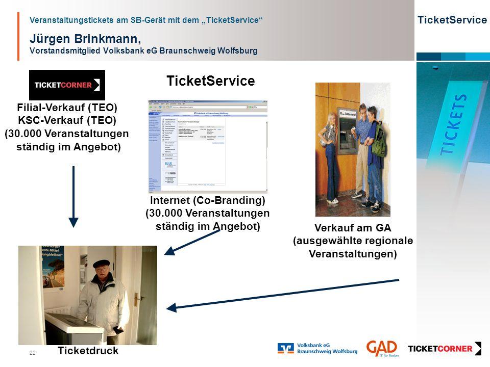 Veranstaltungstickets am SB-Gerät mit dem TicketService TicketService 22 Jürgen Brinkmann, Vorstandsmitglied Volksbank eG Braunschweig Wolfsburg Ticke