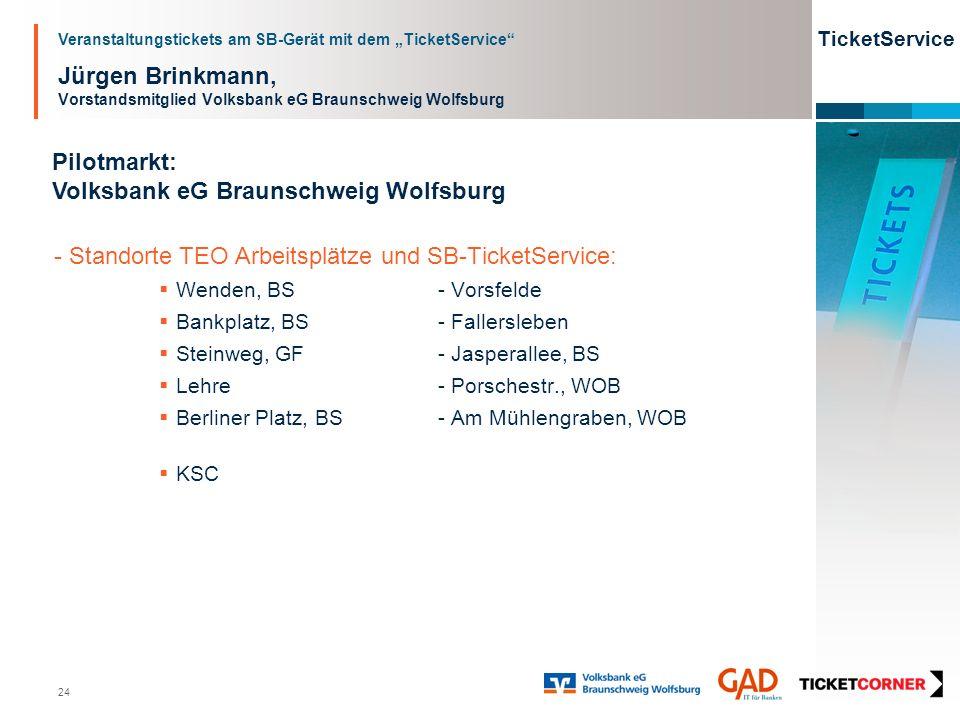 Veranstaltungstickets am SB-Gerät mit dem TicketService TicketService 24 Jürgen Brinkmann, Vorstandsmitglied Volksbank eG Braunschweig Wolfsburg Pilot