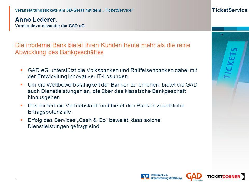 Veranstaltungstickets am SB-Gerät mit dem TicketService TicketService 4 Anno Lederer, Vorstandsvorsitzender der GAD eG Die moderne Bank bietet ihren K