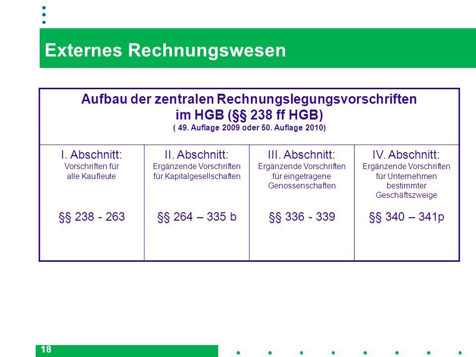 18 Externes Rechnungswesen Aufbau der zentralen Rechnungslegungsvorschriften im HGB (§§ 238 ff HGB) ( 49. Auflage 2009 oder 50. Auflage 2010) I. Absch