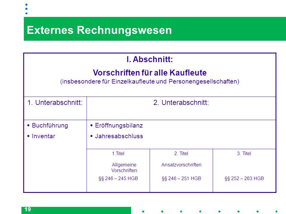 19 Externes Rechnungswesen I. Abschnitt: Vorschriften für alle Kaufleute (insbesondere für Einzelkaufleute und Personengesellschaften) 1. Unterabschni