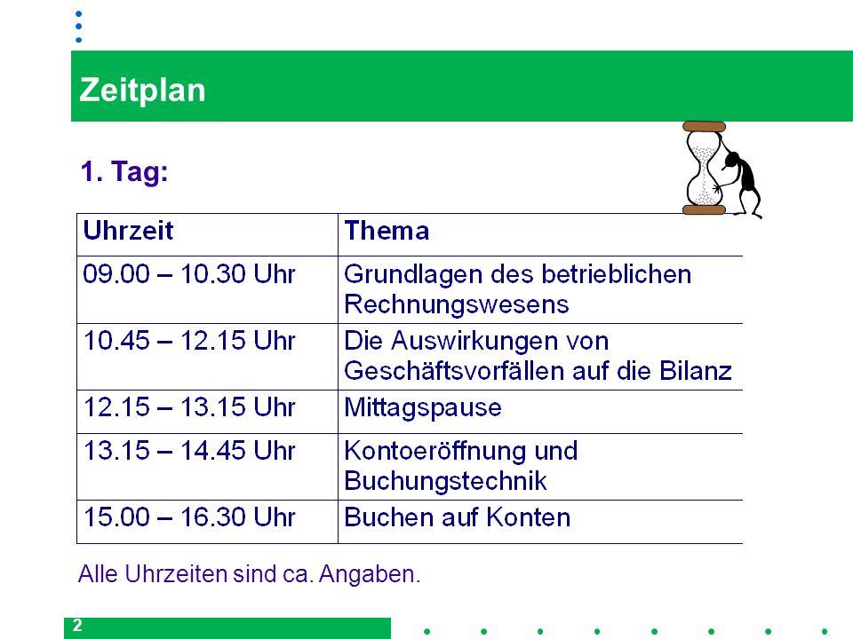 2 Zeitplan 1. Tag: Alle Uhrzeiten sind ca. Angaben.