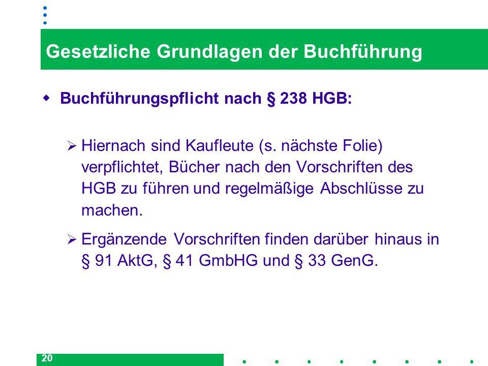 20 Gesetzliche Grundlagen der Buchführung Buchführungspflicht nach § 238 HGB: Hiernach sind Kaufleute (s. nächste Folie) verpflichtet, Bücher nach den