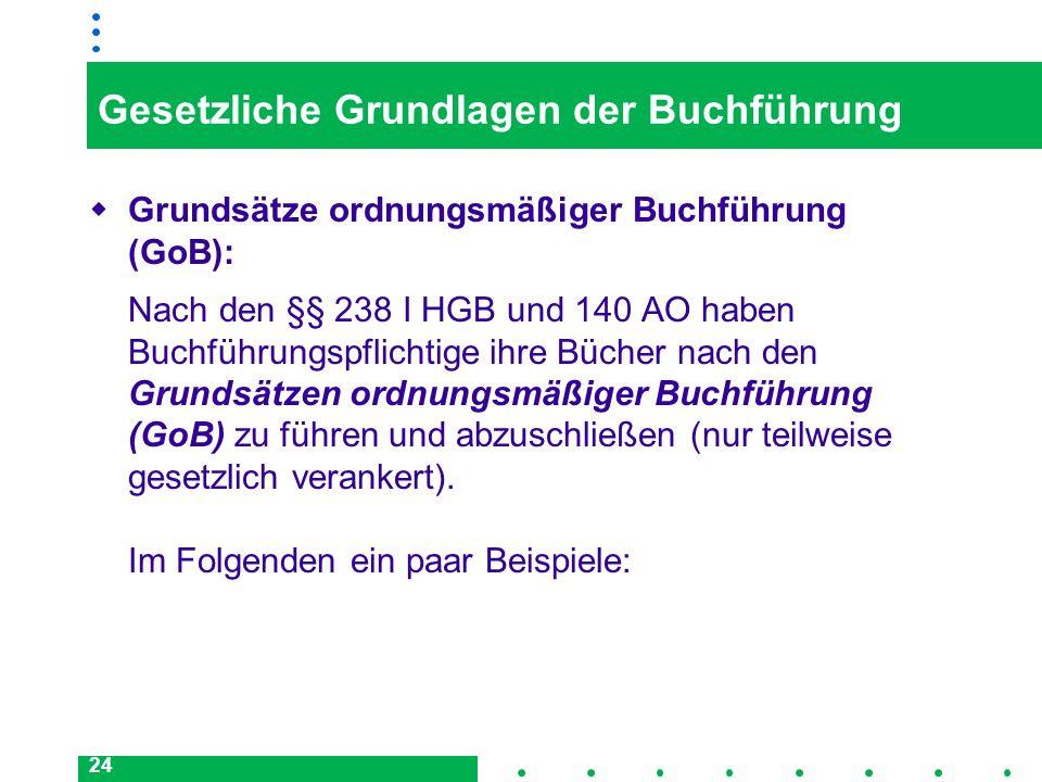 24 Gesetzliche Grundlagen der Buchführung Grundsätze ordnungsmäßiger Buchführung (GoB): Nach den §§ 238 I HGB und 140 AO haben Buchführungspflichtige