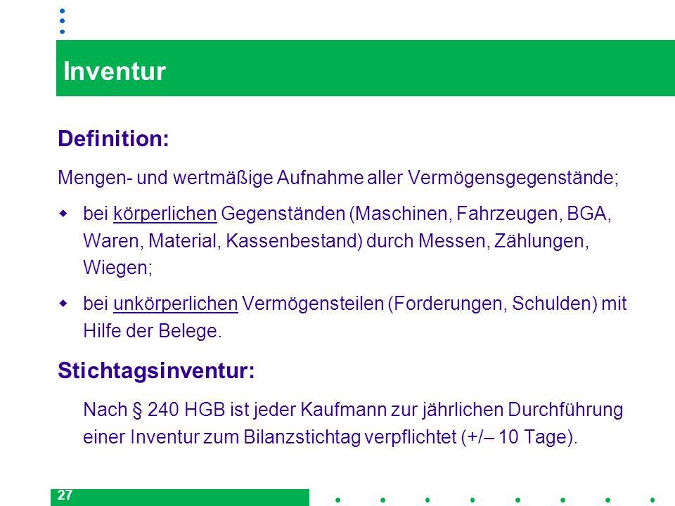 27 Inventur Definition: Mengen- und wertmäßige Aufnahme aller Vermögensgegenstände; bei körperlichen Gegenständen (Maschinen, Fahrzeugen, BGA, Waren,