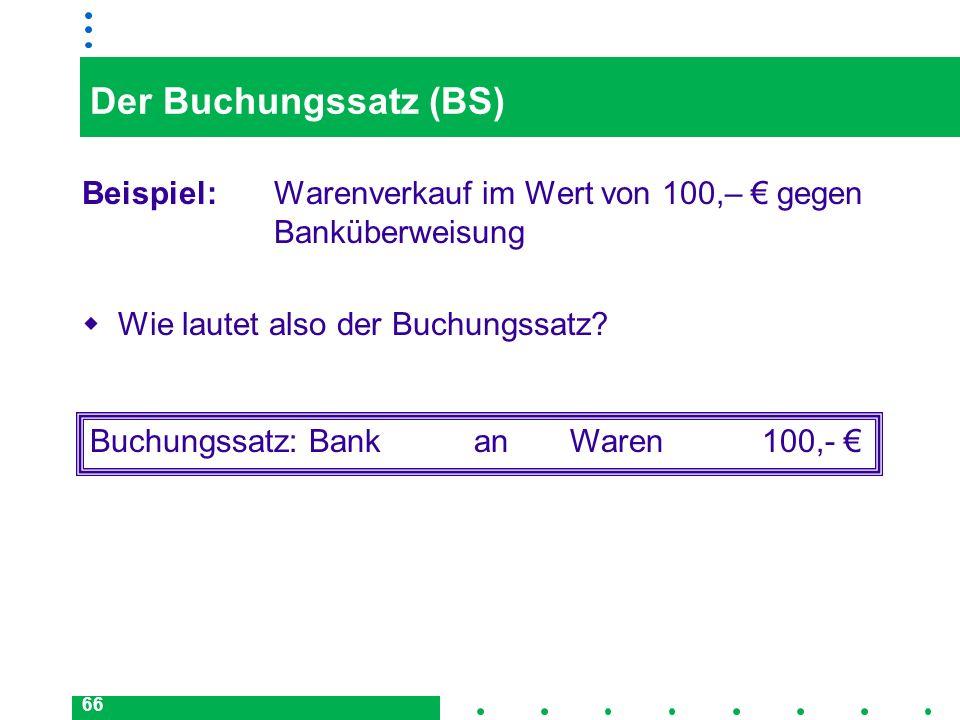 66 Der Buchungssatz (BS) Beispiel: Warenverkauf im Wert von 100,– gegen Banküberweisung Wie lautet also der Buchungssatz? Buchungssatz: BankanWaren100