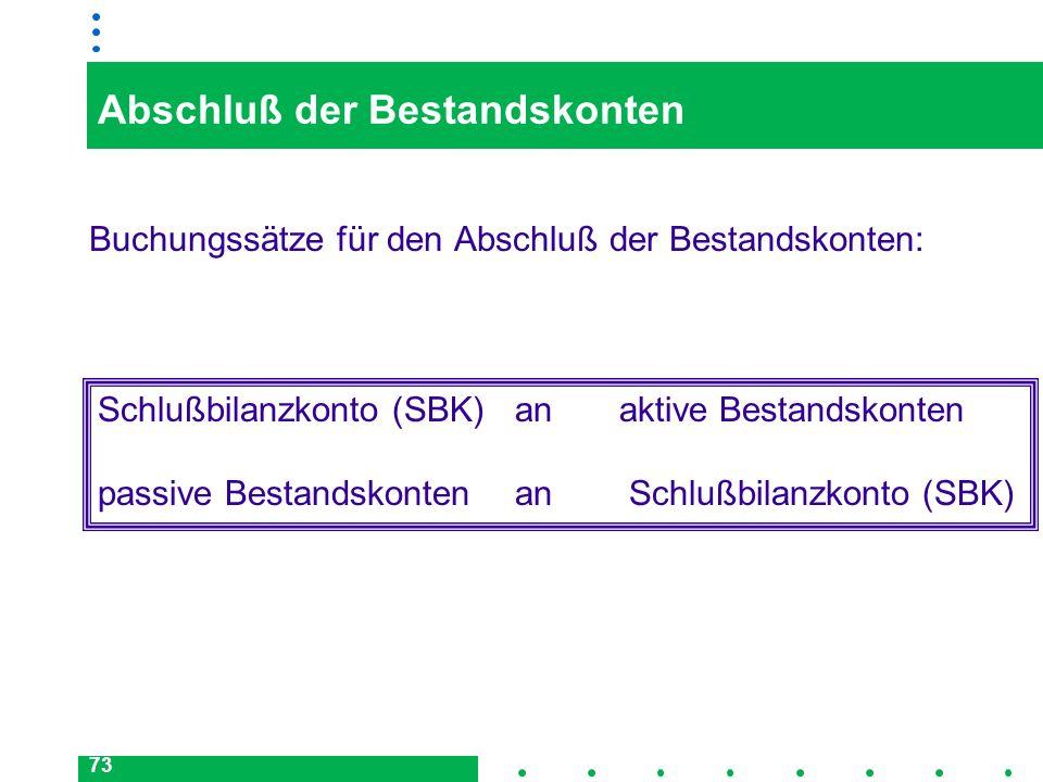 73 Abschluß der Bestandskonten Buchungssätze für den Abschluß der Bestandskonten: Schlußbilanzkonto (SBK)anaktive Bestandskonten passive Bestandskonte