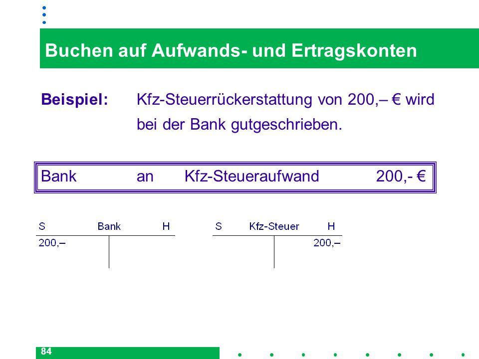 84 Buchen auf Aufwands- und Ertragskonten Beispiel: Kfz-Steuerrückerstattung von 200,– wird bei der Bank gutgeschrieben. BankanKfz-Steueraufwand200,-