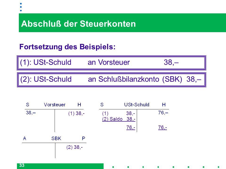 33 Abschluß der Steuerkonten Fortsetzung des Beispiels: (2): USt-Schuld an Schlußbilanzkonto (SBK) 38,– (1): USt-Schuld an Vorsteuer 38,– 76,- (1) 38,