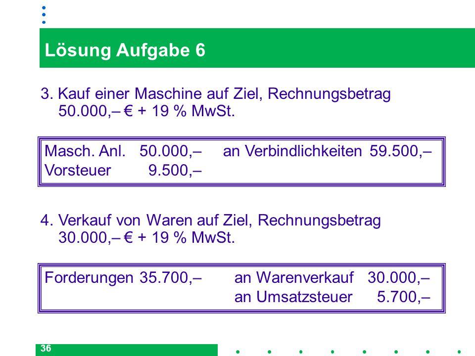36 Lösung Aufgabe 6 3. Kauf einer Maschine auf Ziel, Rechnungsbetrag 50.000,– + 19 % MwSt. Masch. Anl.50.000,– an Verbindlichkeiten 59.500,– Vorsteuer