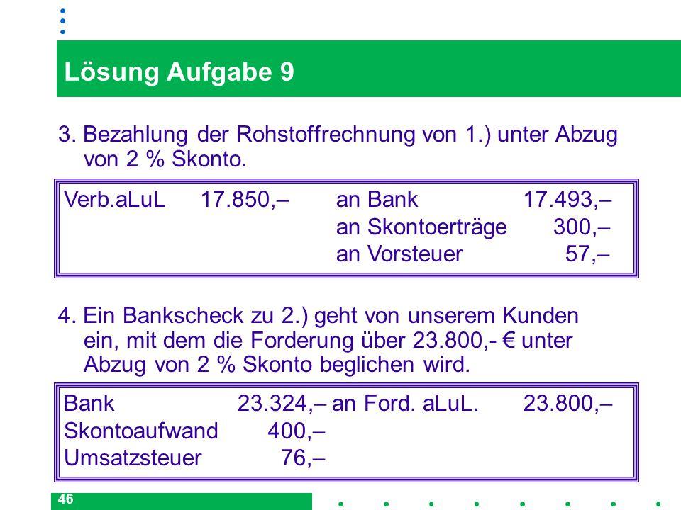 46 Lösung Aufgabe 9 3. Bezahlung der Rohstoffrechnung von 1.) unter Abzug von 2 % Skonto. Verb.aLuL17.850,–an Bank 17.493,– an Skontoerträge 300,– an