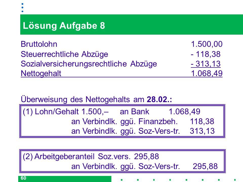 60 Lösung Aufgabe 8 Bruttolohn 1.500,00 Steuerrechtliche Abzüge- 118,38 Sozialversicherungsrechtliche Abzüge- 313,13 Nettogehalt1.068,49 (1) Lohn/Geha