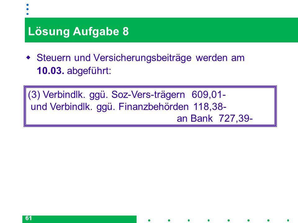 61 Lösung Aufgabe 8 Steuern und Versicherungsbeiträge werden am 10.03. abgeführt: (3) Verbindlk. ggü. Soz-Vers-trägern 609,01- und Verbindlk. ggü. Fin