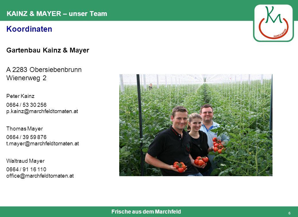 Frische aus dem Marchfeld 6 KAINZ & MAYER – unser Team Koordinaten Gartenbau Kainz & Mayer A 2283 Obersiebenbrunn Wienerweg 2 Peter Kainz 0664 / 53 30