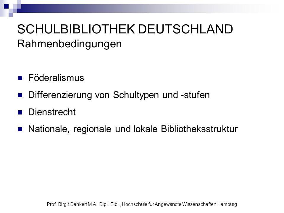 Prof. Birgit Dankert M.A. Dipl.-Bibl., Hochschule für Angewandte Wissenschaften Hamburg SCHULBIBLIOTHEK DEUTSCHLAND Rahmenbedingungen Föderalismus Dif