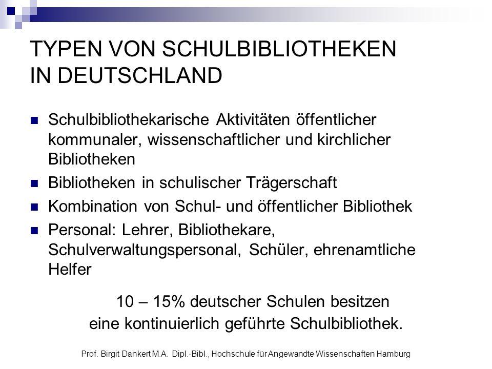 Prof. Birgit Dankert M.A. Dipl.-Bibl., Hochschule für Angewandte Wissenschaften Hamburg TYPEN VON SCHULBIBLIOTHEKEN IN DEUTSCHLAND Schulbibliothekaris