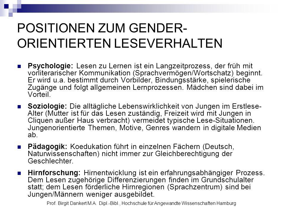Prof. Birgit Dankert M.A. Dipl.-Bibl., Hochschule für Angewandte Wissenschaften Hamburg POSITIONEN ZUM GENDER- ORIENTIERTEN LESEVERHALTEN Psychologie: