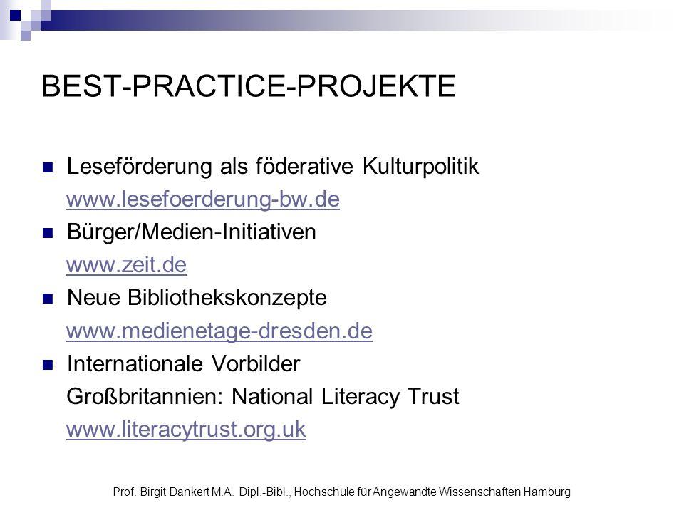 Prof. Birgit Dankert M.A. Dipl.-Bibl., Hochschule für Angewandte Wissenschaften Hamburg BEST-PRACTICE-PROJEKTE Leseförderung als föderative Kulturpoli
