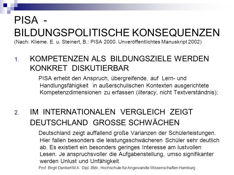 Prof. Birgit Dankert M.A. Dipl.-Bibl., Hochschule für Angewandte Wissenschaften Hamburg PISA - BILDUNGSPOLITISCHE KONSEQUENZEN (Nach: Klieme. E. u. St