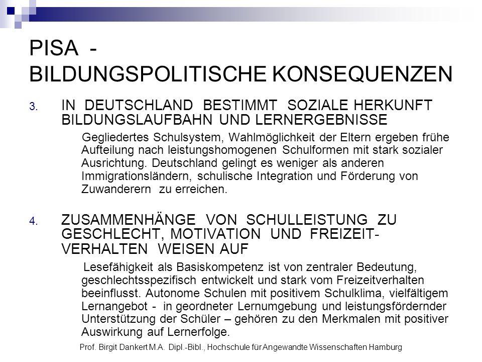 Prof. Birgit Dankert M.A. Dipl.-Bibl., Hochschule für Angewandte Wissenschaften Hamburg PISA - BILDUNGSPOLITISCHE KONSEQUENZEN 3. IN DEUTSCHLAND BESTI