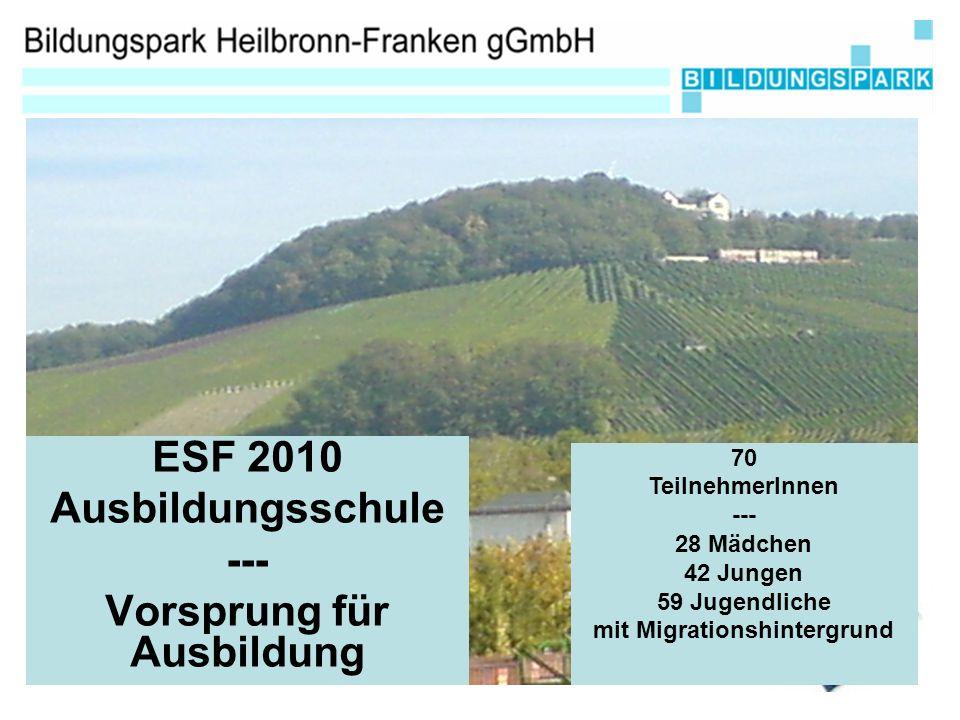 ESF 2010 Ausbildungsschule --- Vorsprung für Ausbildung 70 TeilnehmerInnen --- 28 Mädchen 42 Jungen 59 Jugendliche mit Migrationshintergrund