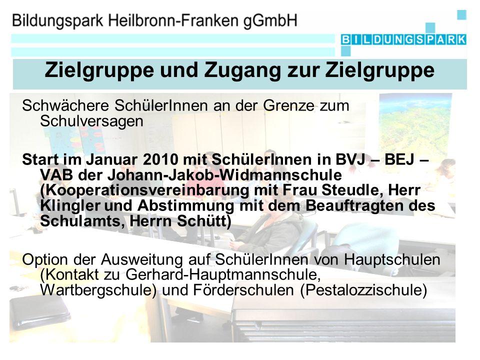 Schwächere SchülerInnen an der Grenze zum Schulversagen Start im Januar 2010 mit SchülerInnen in BVJ – BEJ – VAB der Johann-Jakob-Widmannschule (Kooperationsvereinbarung mit Frau Steudle, Herr Klingler und Abstimmung mit dem Beauftragten des Schulamts, Herrn Schütt) Option der Ausweitung auf SchülerInnen von Hauptschulen (Kontakt zu Gerhard-Hauptmannschule, Wartbergschule) und Förderschulen (Pestalozzischule) Zielgruppe und Zugang zur Zielgruppe