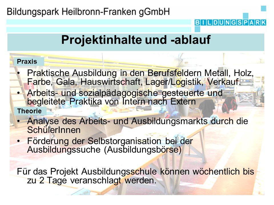 Praktische Ausbildung in den Berufsfeldern Metall, Holz, Farbe, Gala, Hauswirtschaft, Lager/Logistik, Verkauf.