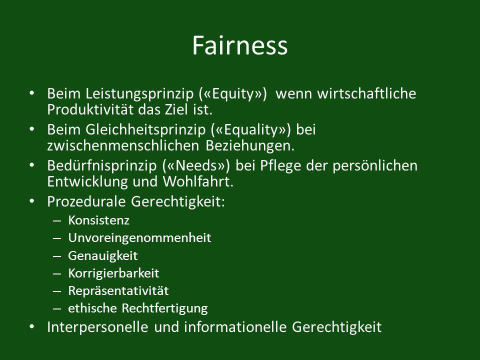 Fairness Beim Leistungsprinzip («Equity») wenn wirtschaftliche Produktivität das Ziel ist.