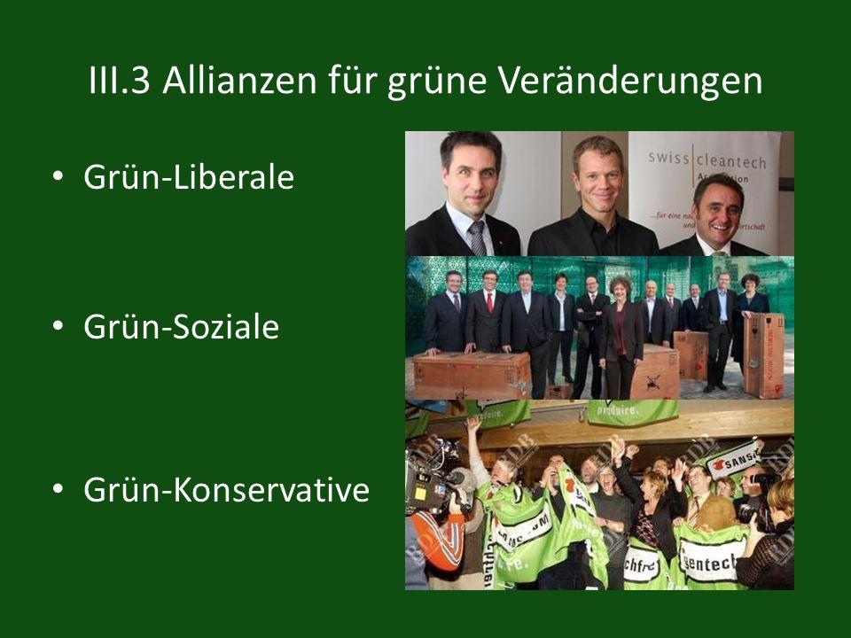 III.3 Allianzen für grüne Veränderungen Grün-Liberale Grün-Soziale Grün-Konservative
