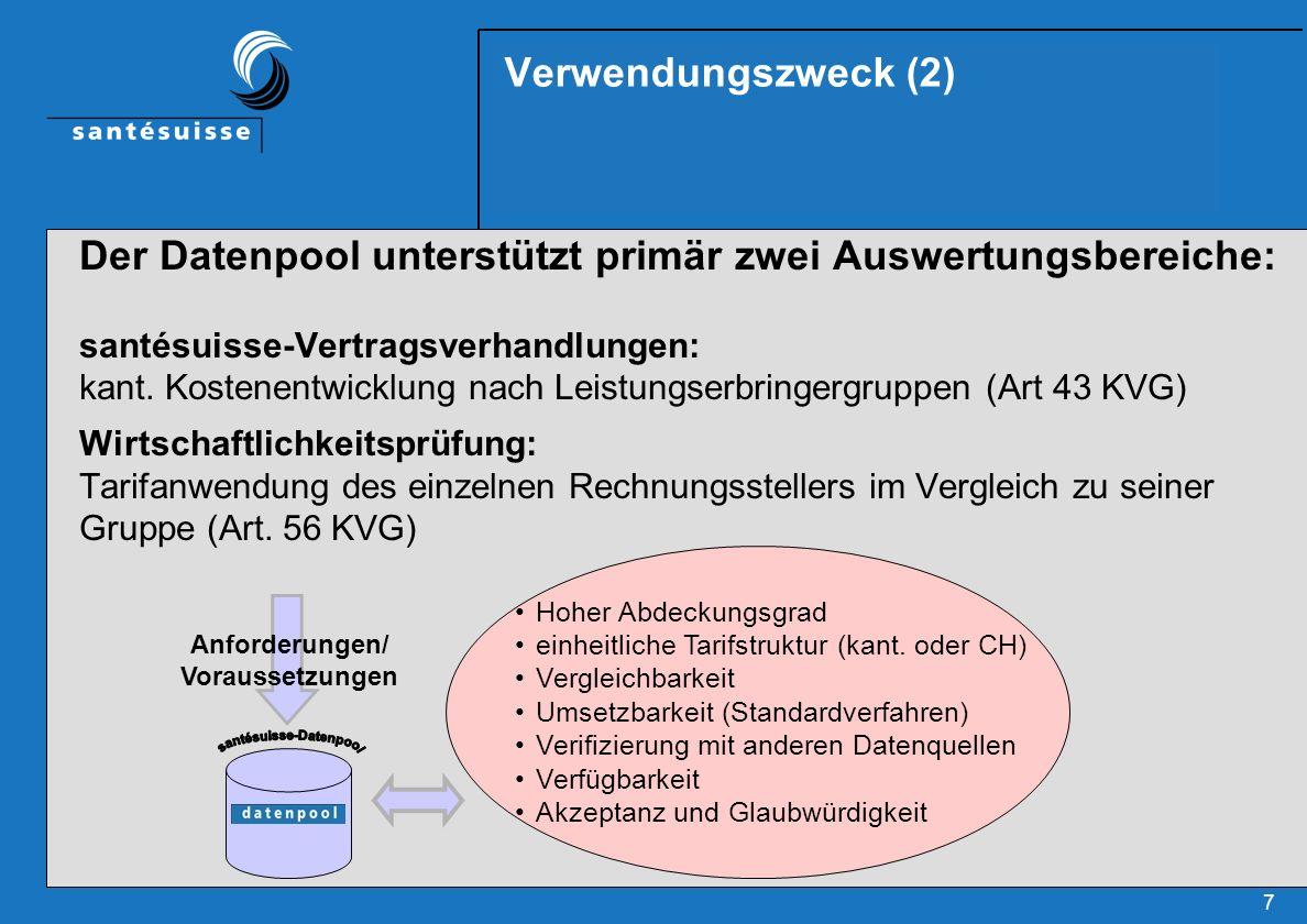 7 Verwendungszweck (2) Der Datenpool unterstützt primär zwei Auswertungsbereiche: santésuisse-Vertragsverhandlungen: kant. Kostenentwicklung nach Leis