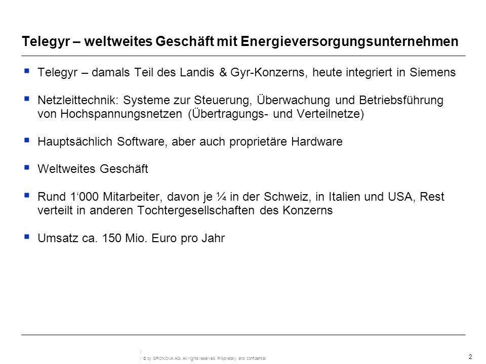 2 | © by GRONOVA AG. All rights reserved. Proprietary and confidential. | Telegyr – weltweites Geschäft mit Energieversorgungsunternehmen Telegyr – da